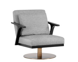 ALISA SWIVEL CHAIR – ANTIQUE BRASS – MILESTONE GREY FABRIC
