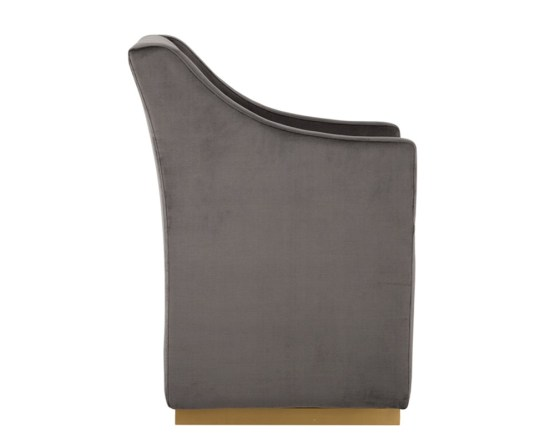 ZANE WHEELED LOUNGE CHAIR – BRUSHED BRASS – PIMLICO PEBBLE FABRIC
