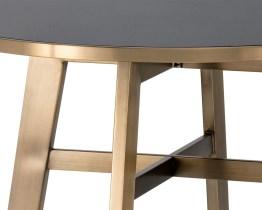 BRONX BAR TABLE – ANTIQUE BRASS – BLACK GLASS