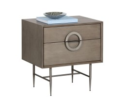 EMERY NIGHTSTAND – ANTIQUE SILVER – ASH GREY FINISH