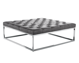 SUTTON SQUARE OTTOMAN LARGE – GREY LEATHER