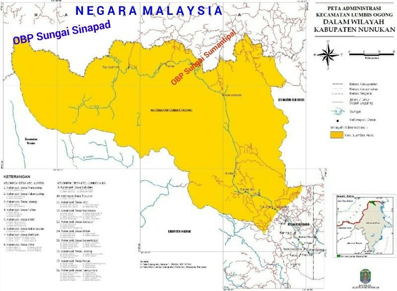 Peta Kecamatan Lumbis Ogong yang masuk dalam wilayah OBP