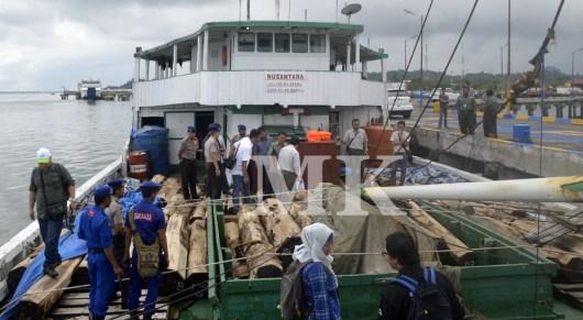 KLM Nusantara disita petugas beserta ribuan batang kayu hitam jenis senokeling