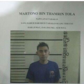 Martono tahanan Lapas Kelas IIA Kota Tarakan yang kabur.