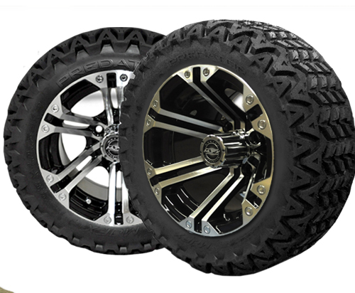 Golf Cart Wheels 14X7 Nitro Machined-Black- $619.00