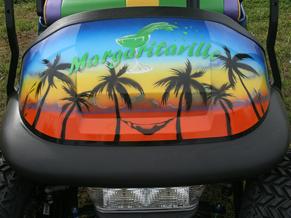 Custom Airbrushed Club Car Precedent Golf Cart Margaritaville front hood detail