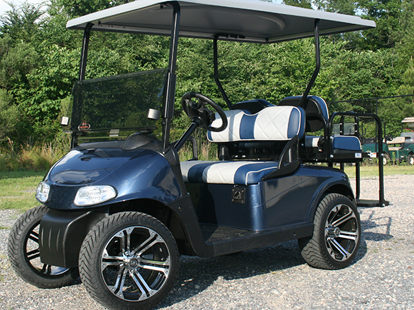 Custom Pearlescent Blue with White E-Z-GO RXV Golf Cart Classic front side view