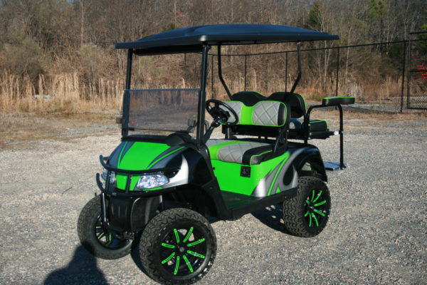 Lime Green, Silver and Black Custom Golf Cart