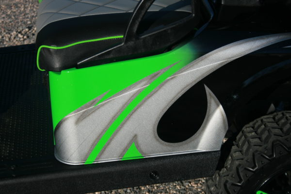 Paint Detail - Lime Green, Silver and Black Custom Golf Cart