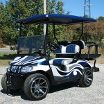 E-Z-GO RXV - Blue white flame with brush guard golf cart