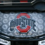 E-Z-GO RXV Front Detail - Ohio State-inspired Black and red