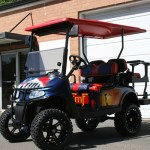 E-Z-GO RXV - military tribute red white blue golf cart