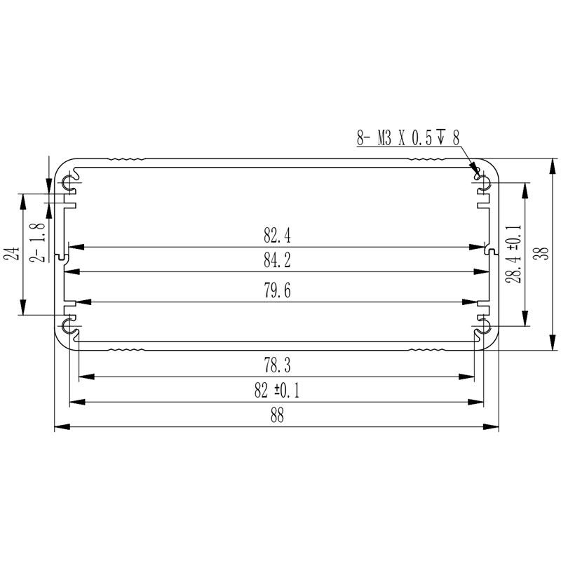 D1001438 aluminium behuizing afmetingen