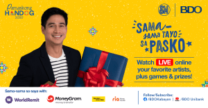 "BDO and SM Supermalls continue the tradition of honoring overseas Filipino through its first virtual ""Pamaskong Handog 2020 on Dec. 13"""