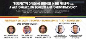 "Federation of Indian Chambers of Commerce Phils. Inc. and IBF held a joint webinar, ""Perspective of doing business in the Philippines"""