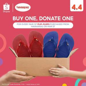 Buy 1 Donate 1 Havaianas pair to a frontliner hero exclusive at Shopee