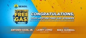 Three new lucky SEAOIL customers won a lifetime supply of free gas