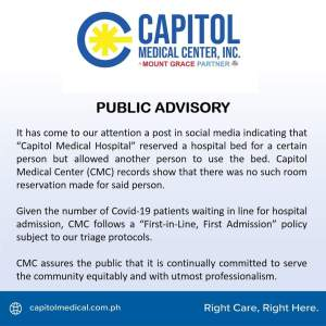 "Capitol Medical Center strictly follows ""First-in-Line, First Admission"" policy"