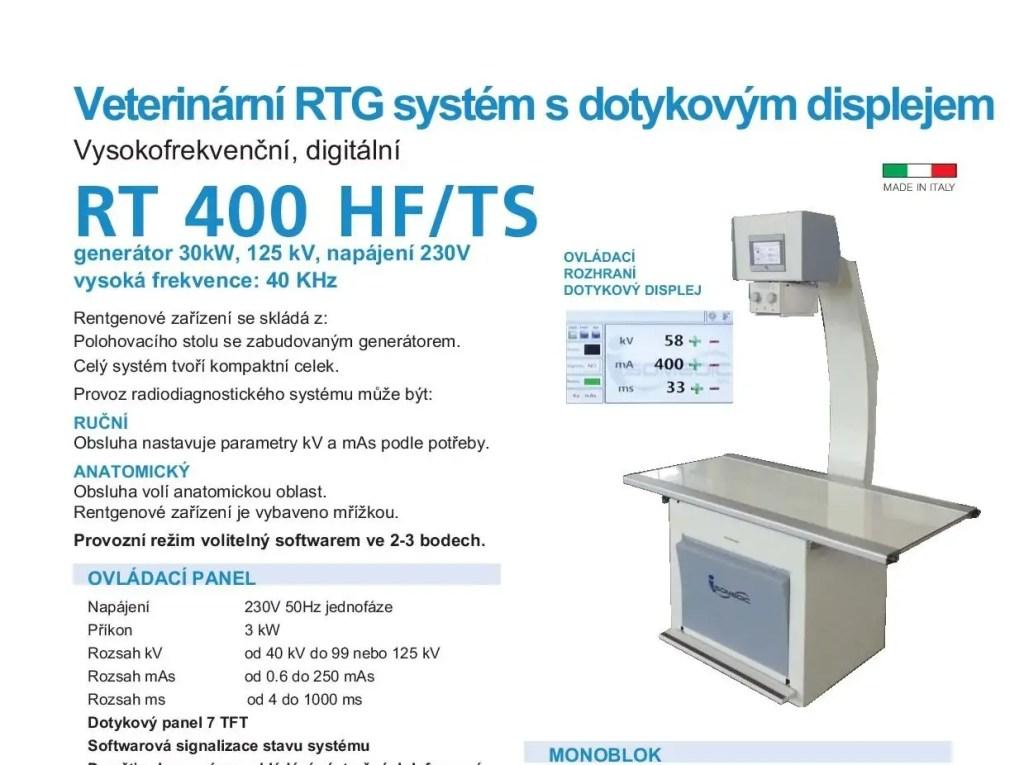 veterinární rtg RTG RT 400 HF / TS