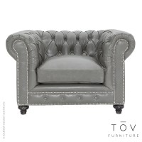 Durango Rustic Grey Leather Club Chair | Tov Furniture ...