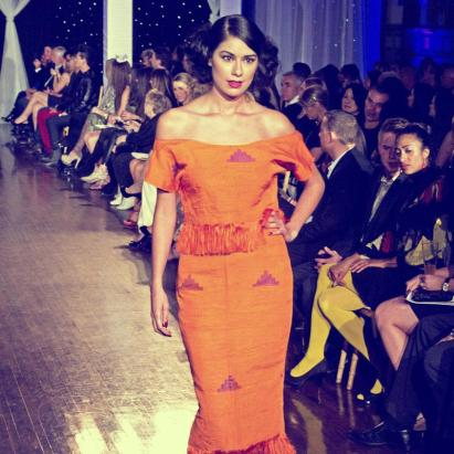 Design by Studio Alade shown at Next Fashion 2012 runway show at Germania Place during Fashion Focus Week Chicago. Model Michelle Mink.