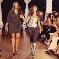 Designer and artist Yemonja Smalls of Just Juman with model Laura Silva at Next Fashion 2012 runway show at Germania Place during Fashion Focus Week Chicago.