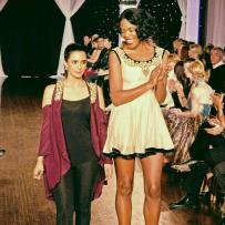 Designer Sahar Dada with model at Next Fashion 2012 runway show at Germania Place during Fashion Focus Week Chicago.