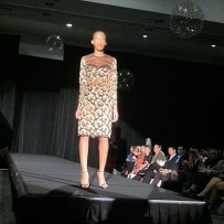 Fashion Focus Week Queen of Hearts runway show. Design by Anna Fong. Model Bella Wholey