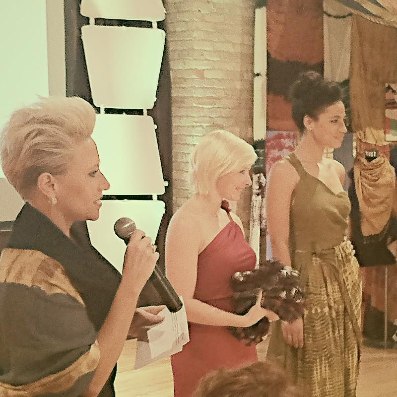 Fashion designer Anna Hovet competing at the Heshima Challenge Project Runway inspired competition.
