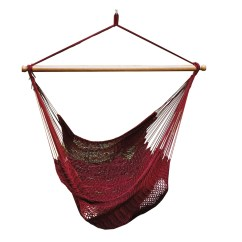 Hanging Rope Chair Old Wooden Desk Burgundy Polyester Metropolitan