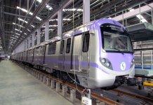 New six coach metro train in Salt Lake depot