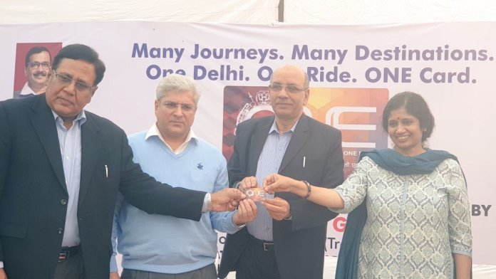 Transport Minister Kailash Gahlot with transport commissioner Varsha Joshi and DMRC managing director Mangu Singh launching the new common mobility card titled 'ONE' in New Delhi on Monday