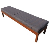 (2) 7ft Wood Bench with Striped Fabric Cushions | eBay