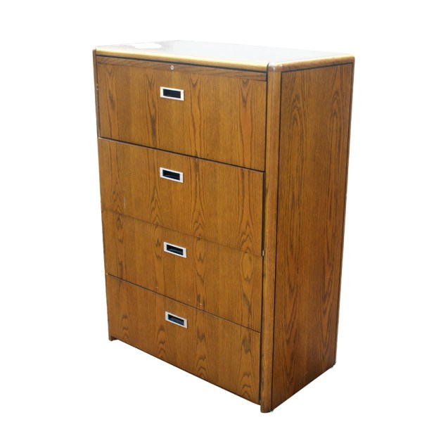 Four Drawer Wood File Cabinet