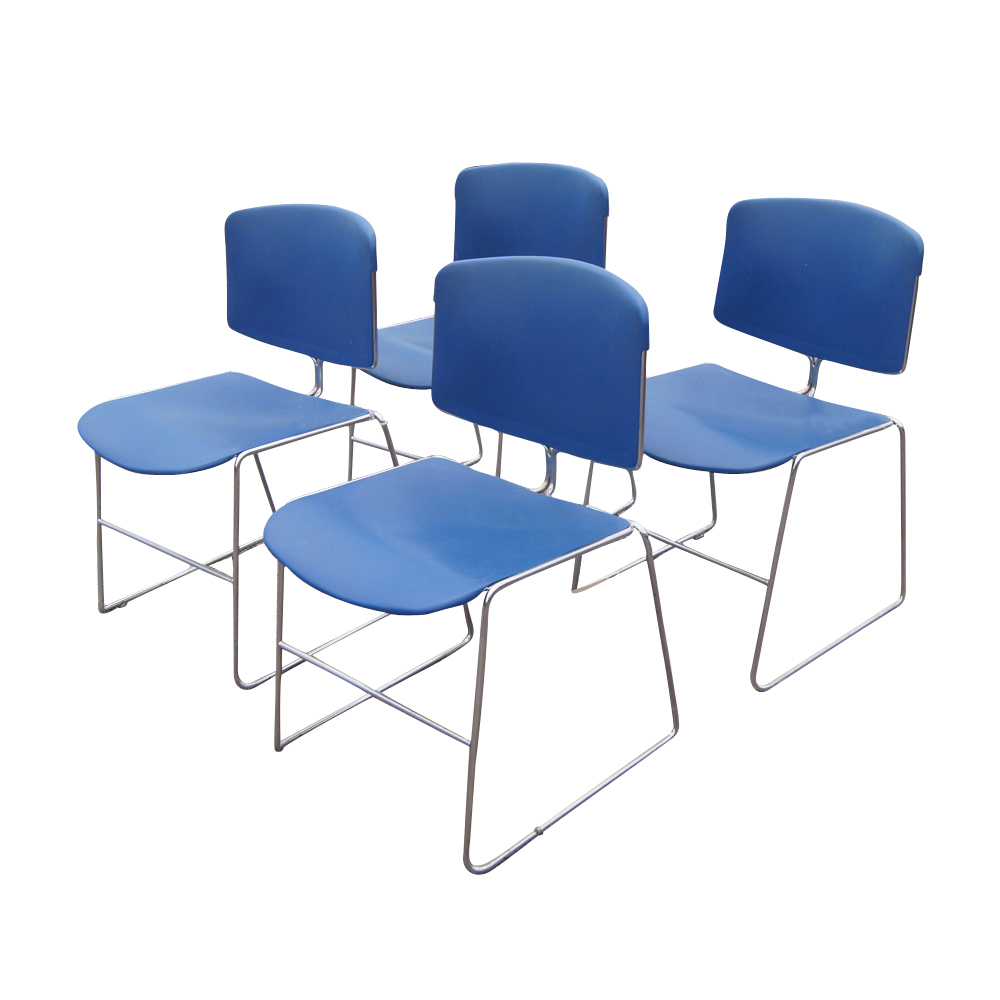 4 Vintage Steelcase Stacking Chairs  eBay