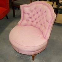 Pink Silk Victorian Tufted Round Barrel Lounge Chair | eBay