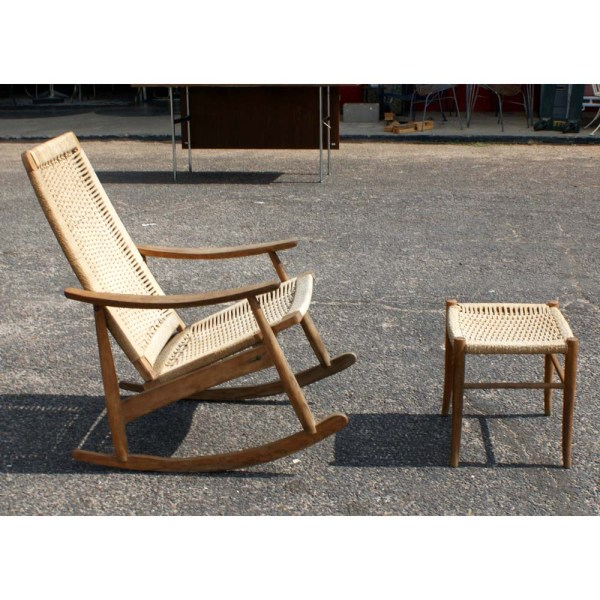 Danish Vintage Rocking Lounge Chair And Ottoman Set