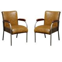 (2) Mid Century Chrome and Vinyl Arm Chairs