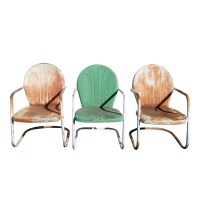 (3) Vintage Metal Outdoor Patio Tulip ChairsPRICE REDUCED