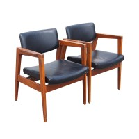 Mid Century Floating Back Danish Style Arm Chairs on PopScreen
