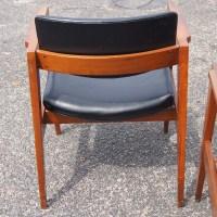 Mid Century Floating Back Danish Style Arm Chairs | eBay