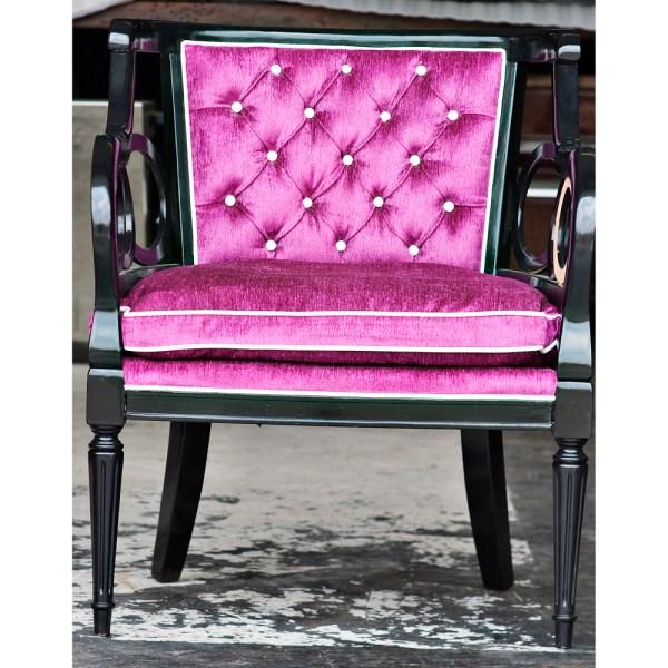 Purple Tufted Arm Chair