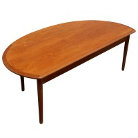 "60"" Mid Century Modern Vintage Half Moon Coffee Table 