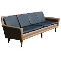 8ft Restored Danish Modern Dux Leather Sofa Couch ON SALE ...