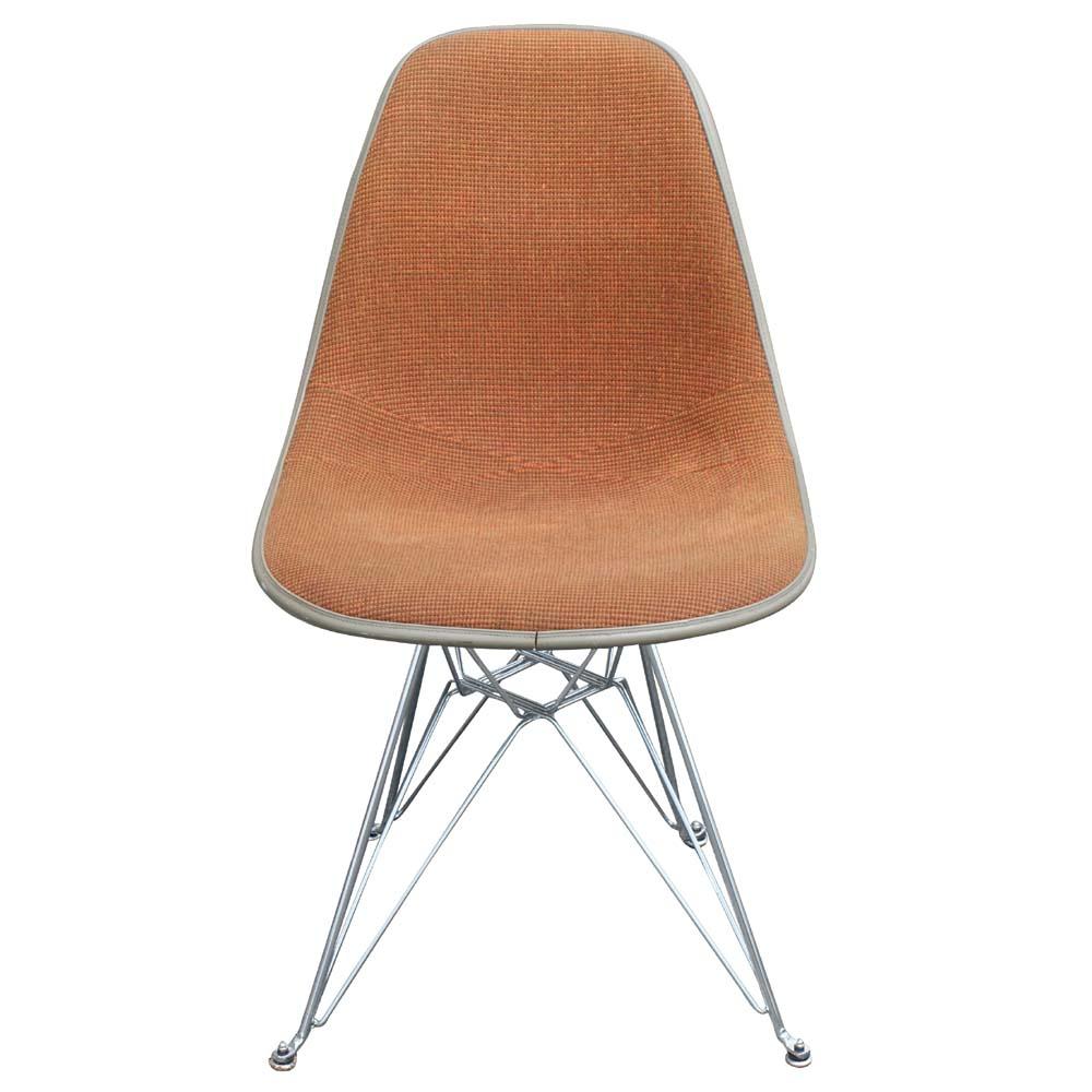 Eames Molded Fiberglass Side Upholstered Shell Chair  eBay