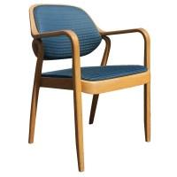 (1) Knoll Don Petitt 1105 Side Chair Bent Oak Wood Blue