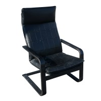 Vintage Black Leather Bentwood Lounge Arm Chair (MR10143