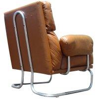Mid Century Modern Leather Chrome Lounge Chair | eBay