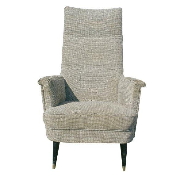 Vintage Patrician Armless Lounge Chair Chrome Base