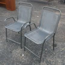 2 Vintage Industrial Outdoor Metal Arm Chairs